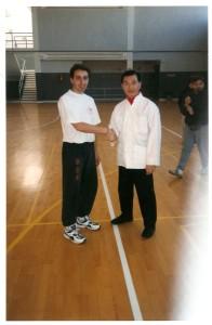 Sifu David Moreno con Gm Doc Fai Wong en Seminarios de TAiChi Zaragoza año 1997